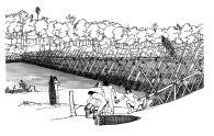 Sequência da construção de barragem de pesca do povo Enawene Nawe (Vale do Juruena - MT - Brasil). Ritual Yaokwa reconhecido pelo IPHAN como Patrimônio Cultural do Brasil e declarado pela Unesco como Patrimônio da Humanidade. Desenhos: José Maria Andrade, técnica Nanquim sobre canson, 2008.