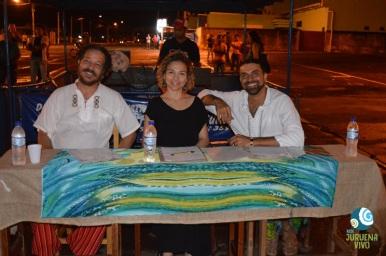 Herman Oliveira, Gabriela Neves e Victor Batista formaram o juri do Festival da Canção. Foto de Carla Ninos.